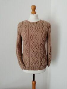 Maglione fatto a mano ferri in pura lana merino colore nocciola taglia S/M