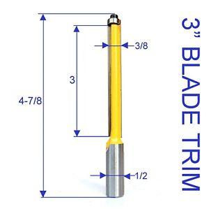 "1 pc 1/2"" SH 3/8 Cutting Diameter 3"" Extra Long Blade Flush Trim Router Bit"
