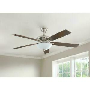 Hampton Bay Abbeywood 60 in. LED Brushed Nickel Ceiling Fan With Light Kit