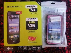 NEW Straight Talk LG Rebel-2 (LTE-V) 8GB 4GLTE Android Prepaid Smartphone Bundle