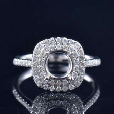 Round 6.5MM VS Natural Diamond Double Halo Wedding Ring Setting 18K White Gold
