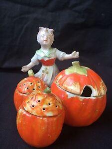 antique pottery Salt - Peper - Mustard set.