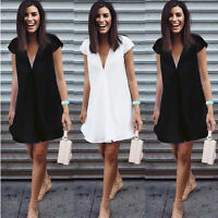 Womens Plunge V Neck Short Party Casual Baggy Summer Beach Mini Dress Plus Size