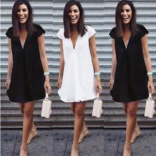 Damen V-Ausschnitt Chiffon Hemdkleider Sommerkleid Mini Kleid Longshirt Bluse 42