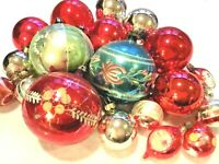 Vintage Polish Christmas Ornaments Red Indented Painted/Glitter/Mica