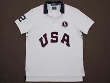 Mens Polo Ralph Lauren S/S Pique2012 USA OLYMPICS Custom Fit Rugby Large EUC
