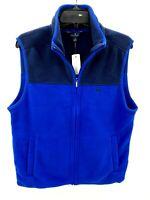 Brooks Brothers Mens  Blue Polar Fleece Colorblock Vest Full Zip Size XL NWT