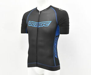 Verge Men's TOR+FL Short Sleeve Aero Cycling Jersey Large Black/Blue Brand New