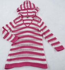 Tommy Bahama Women's Knit Crochet Cotton L/S Pink White Striped Hooded Sweater S