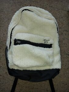 x1 Victoria Secret PINK Backpack School Book Bag WHITE SHERPA Soft Cloth NEW