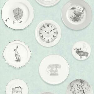 Shabby Chic Soft Green Wallpaper Vintage Decorative Plates Wall Covering