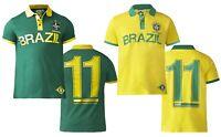 D555 DUKE MENS BRAZIL FOOTBALL POLO SHIRT YELLOW GREEN S M L XL XXL (164782)