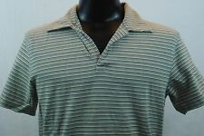 EXPRESS Polo Shirt - Green with White/Black Stripes - M