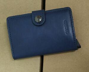 Secrid Mini Wallet Genuine Leather Blue RFID Safe Card Case 12 Cards