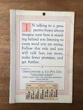 ANTIQUE APRIL 1924 CALENDAR OSBOLDSTONE CO MELBOURNE PRINTER VINTAGE CARD