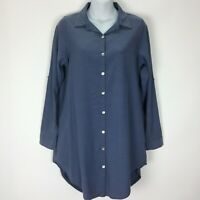 Umgee Small Blue Tunic Top Shirt Blouse Chambray Pockets Womens Long Sleeve