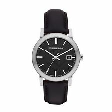 BRAND NEW BURBERRY BU9009 THE CITY SILVER STEEL BLACK LEATHER STRAP MEN'S WATCH