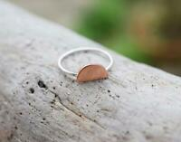 Solid 925 Sterling Silver Band Ring Meditation statement Copper Love Ring  se12