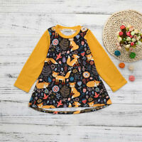 Cute Cotton Toddler Kids Baby Girls Cartoon Fox Print Sun Dress Clothes Outfits