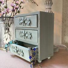 Jewellery Drawers Unit Box Vintage Chic Blue Green Shabby Gisela Graham Keepsake