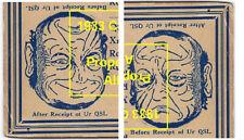 1932 Vintage Cartoon Art Ambigram Postcard QSL Card W4BLN Charlotte 1 cent Stamp