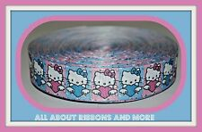 1 INCH ALL HELLO KITTY IN BLUE AND PINK SQUARES GROSGRAIN RIBBON- 1 YARD