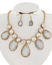 Statement Grey Lucite Stud Clear Crystal Stud Drops Gold Tone Necklace Earring