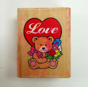 Teddy Bear Girl with Hearts Rubber Stamp Wood Mount Love Romance Valentine