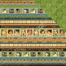 """Graphic 45 Vintage Hollywood - GLITZ AND GLAMOUR - 12x12"""" Scrapbooking Paper"""