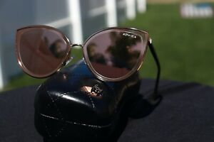CHANEL 4222 Cat Eye Sunglasses c.117/4Z Rose Gold Frame 18-karat Mirror Lenses