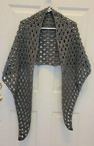 "New 81"" Shawl Wrap Scarf - Grey Gray - Handmade Hand Crochet Knit"