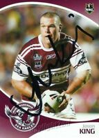✺Signed✺ 2009 MANLY SEA EAGLES NRL Card JASON KING Daily Telegraph