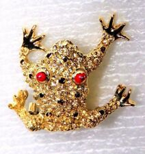 """Unique Red Rhinestones Eyes Gold Tone Frog Brooch/Pin 1.25"""""""