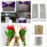 50/100×Diamond Mesh Wrap Napkin Ring Serviette Holder Chair Band Wedding Decor