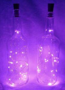 LOT 2 LIGHTED GLASS WINE LIQUOR BOTTLES PINK CORK LED TABLE LAMP HOME BAR DECOR