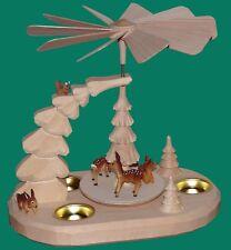 Teelichtpyramide con ciervos naturaleza Seiffen Erzgebirge navidad nieve estrella nuevo
