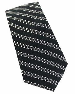 Michael Kors Mens Dotted Striped Slim Tie Black and Gray Necktie