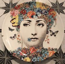"Fornasetti 10"" Plate Wall Art Pop Hippie Dinner Fior Di Lina Flowers Pastel"