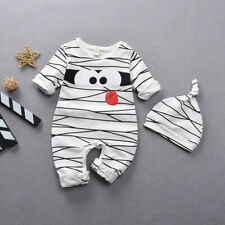 Newborn Infant Baby Girls Boys Halloween Stripe Romper + Hat Outfits Costume