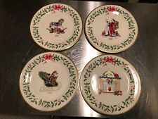 Lenox Annual Holiday Collector Plates Sleigh, Rocking-Horse, Fireplace Santa Set