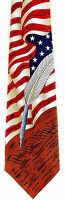 American Constitution Men's Necktie History Flag 4th July Patriotic Neck Tie