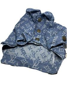 Pet Clothing LV Blue Denim Jacket