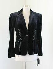 NWT $148 Blank NYC Black Velvet Corset Lace Up Blazer Jacket Size S Goth Grunge