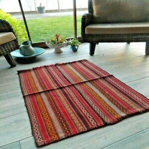 Turkish Red Small Kilim Rug 2x3 Handwoven Rustic Vintage Authentic Wool Area Rug