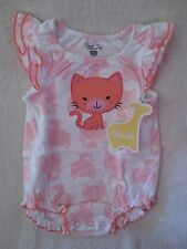 First Moments Baby Girl Romper Size 3 months Kitty Design White/Pink Cotton New