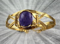 CHAROITE  GEMSTONE BRACELET  SIZE 6 1/2 - WIRE WRAPPED 14KT ROLLED GOLD