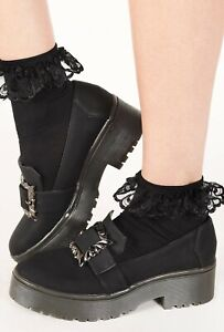 Iron Fist Black Nocturnal Cleated Sole Gothic Buckle Platform Flat Shoes Size 10