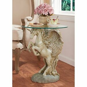 EU31323 - Mystical Winged Unicorn Sculptural Glass-Topped Table