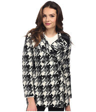 Women's Via Spiga Puzzle Scarpa Faux Leather Detail Wool Coat Black/White 2