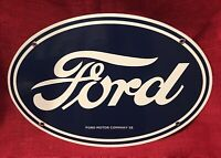 "VINTAGE STYLE 1958 ""FORD DEALER"" PORCELAIN SIGN 16.5 x11 INCHES GREAT CONDITION"
